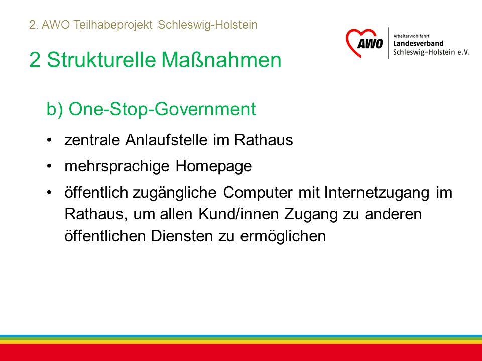 Kiel, Juli 2012 2. AWO Teilhabeprojekt Schleswig-Holstein 2 Strukturelle Maßnahmen b) One-Stop-Government zentrale Anlaufstelle im Rathaus mehrsprachi
