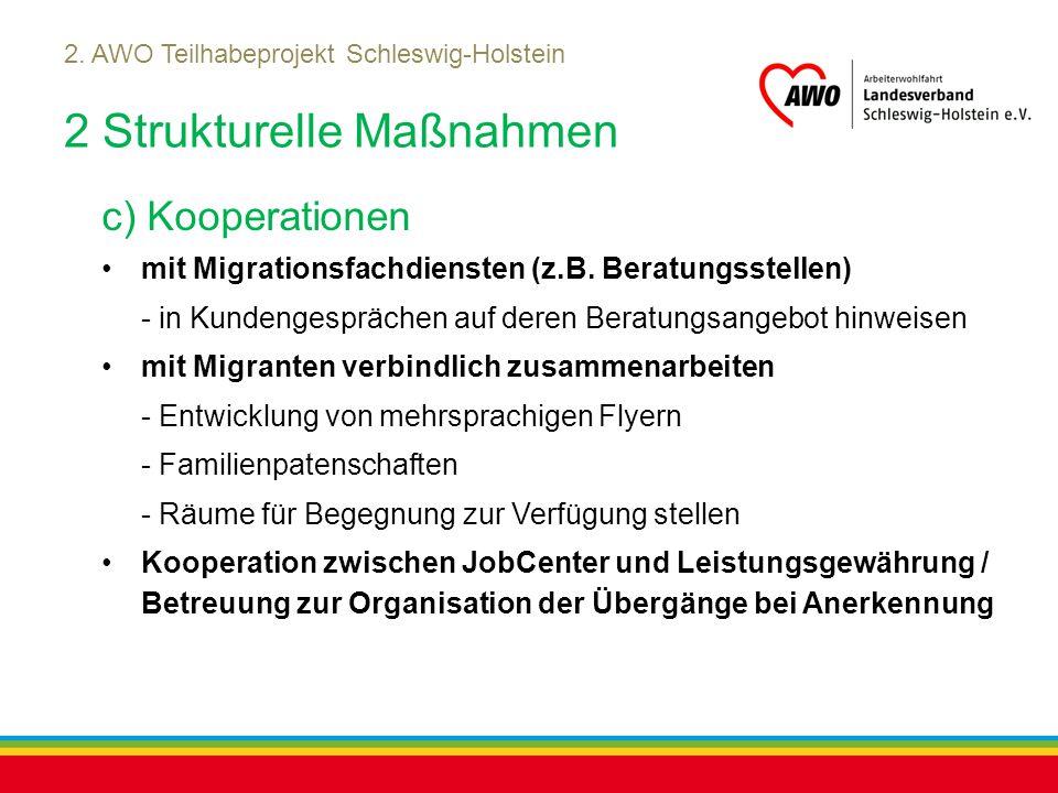 Kiel, Juli 2012 2. AWO Teilhabeprojekt Schleswig-Holstein 2 Strukturelle Maßnahmen c) Kooperationen mit Migrationsfachdiensten (z.B. Beratungsstellen)