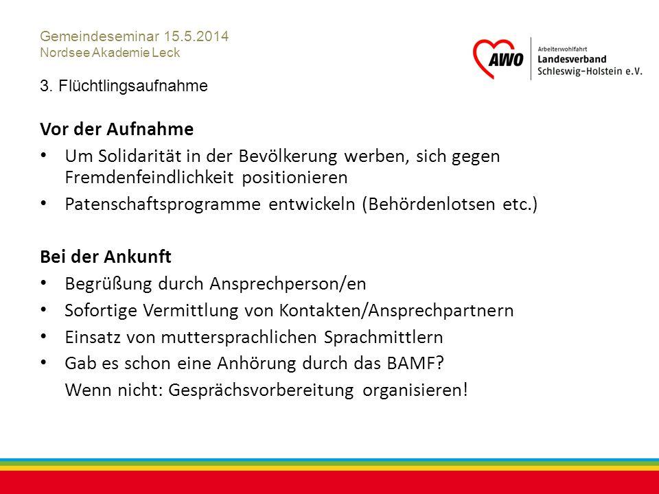 Kiel, Juli 2012 Gemeindeseminar 15.5.2014 Nordsee Akademie Leck 3. Flüchtlingsaufnahme Vor der Aufnahme Um Solidarität in der Bevölkerung werben, sich