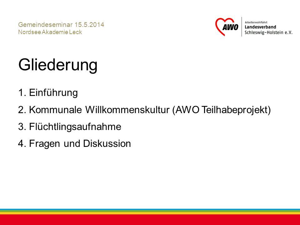 Kiel, Juli 2012 Gemeindeseminar 15.5.2014 Nordsee Akademie Leck Gliederung 1. Einführung 2. Kommunale Willkommenskultur (AWO Teilhabeprojekt) 3. Flüch