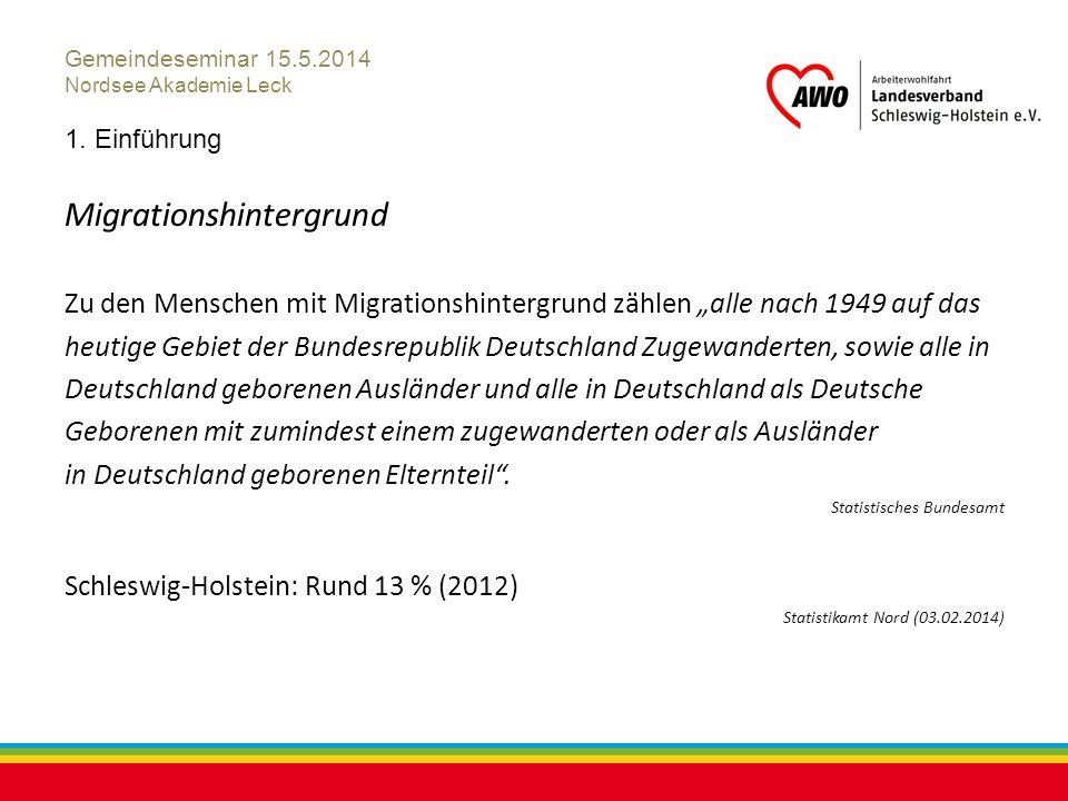 """Kiel, Juli 2012 Gemeindeseminar 15.5.2014 Nordsee Akademie Leck 1. Einführung Migrationshintergrund Zu den Menschen mit Migrationshintergrund zählen """""""