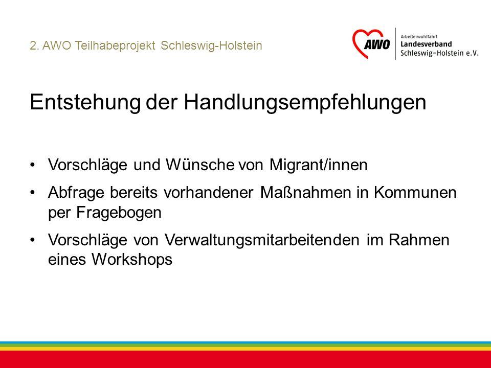 Kiel, Juli 2012 2. AWO Teilhabeprojekt Schleswig-Holstein Entstehung der Handlungsempfehlungen Vorschläge und Wünsche von Migrant/innen Abfrage bereit