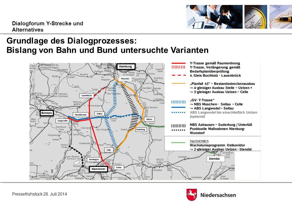 Grundlage des Dialogprozesses: Bislang von Bahn und Bund untersuchte Varianten Pressefrühstück 28.