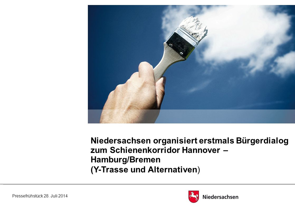 Niedersachsen organisiert erstmals Bürgerdialog zum Schienenkorridor Hannover – Hamburg/Bremen (Y-Trasse und Alternativen) Pressefrühstück 28.