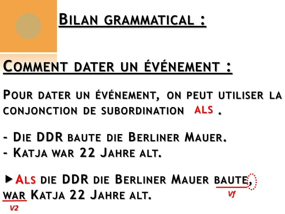 B ILAN GRAMMATICAL : C OMMENT DATER UN ÉVÉNEMENT : P OUR DATER UN ÉVÉNEMENT, ON PEUT UTILISER LA CONJONCTION DE SUBORDINATION.