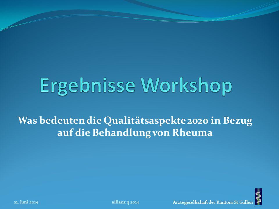 Ärztegesellschaft des Kantons St.Gallen Was bedeuten die Qualitätsaspekte 2020 in Bezug auf die Behandlung von Rheuma 21. Juni 2014allianz q 2014