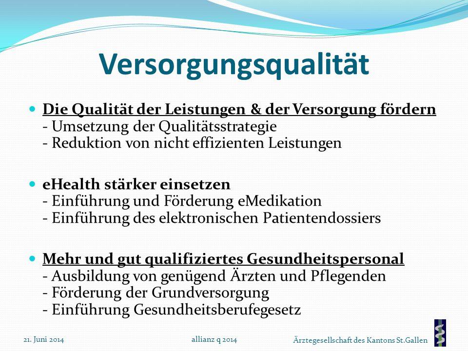Ärztegesellschaft des Kantons St.Gallen Versorgungsqualität Die Qualität der Leistungen & der Versorgung fördern - Umsetzung der Qualitätsstrategie -