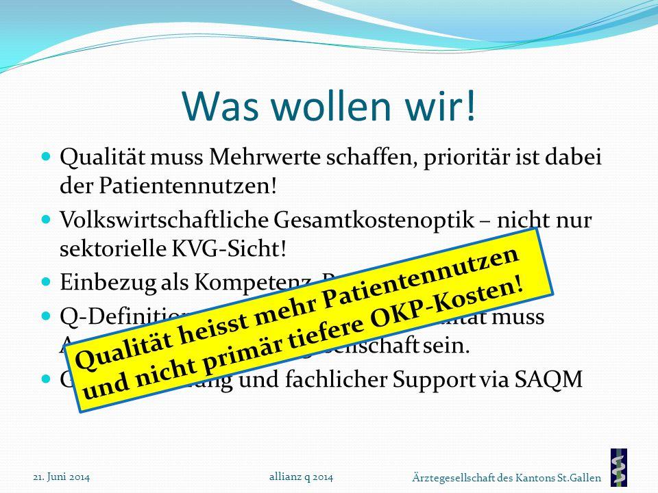 Ärztegesellschaft des Kantons St.Gallen Was wollen wir! Qualität muss Mehrwerte schaffen, prioritär ist dabei der Patientennutzen! Volkswirtschaftlich