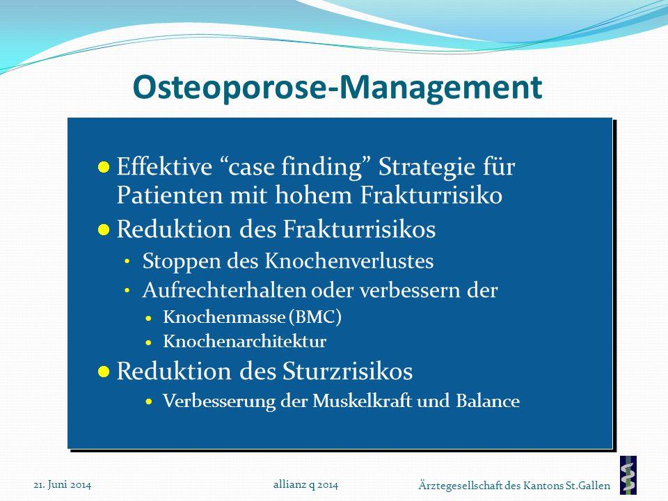 """Ärztegesellschaft des Kantons St.Gallen Osteoporose-Management Effektive """"case finding"""" Strategie für Patienten mit hohem Frakturrisiko Reduktion des"""