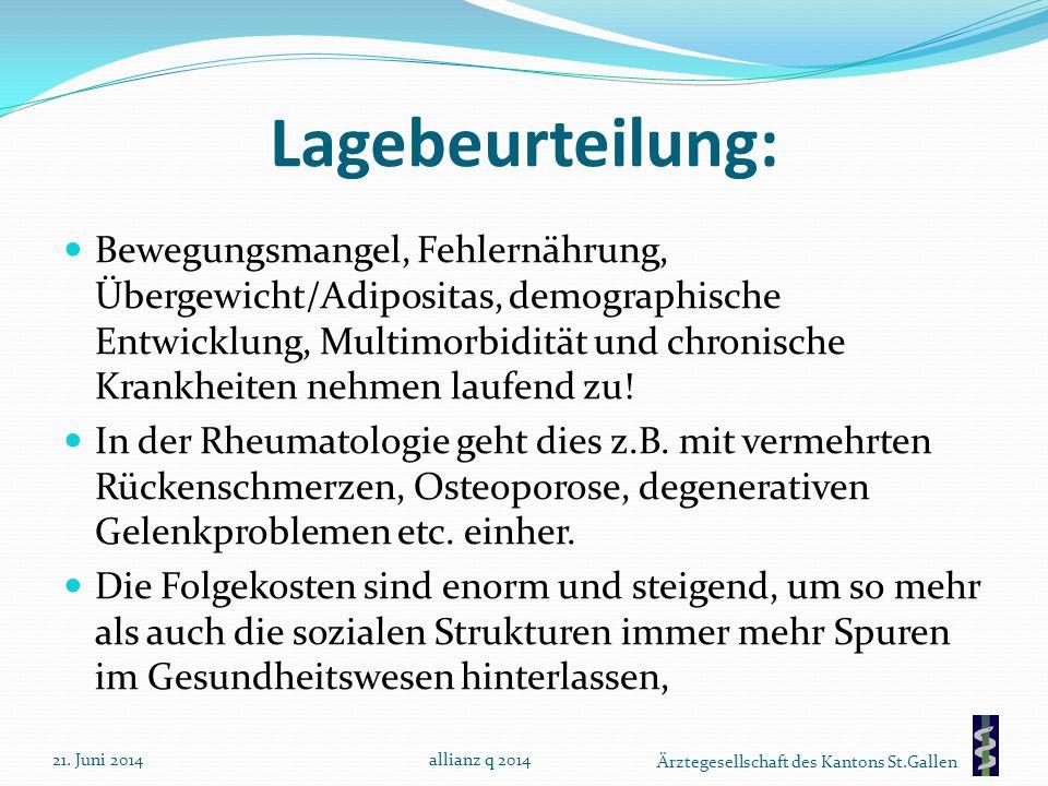 Ärztegesellschaft des Kantons St.Gallen Lagebeurteilung: Bewegungsmangel, Fehlernährung, Übergewicht/Adipositas, demographische Entwicklung, Multimorb