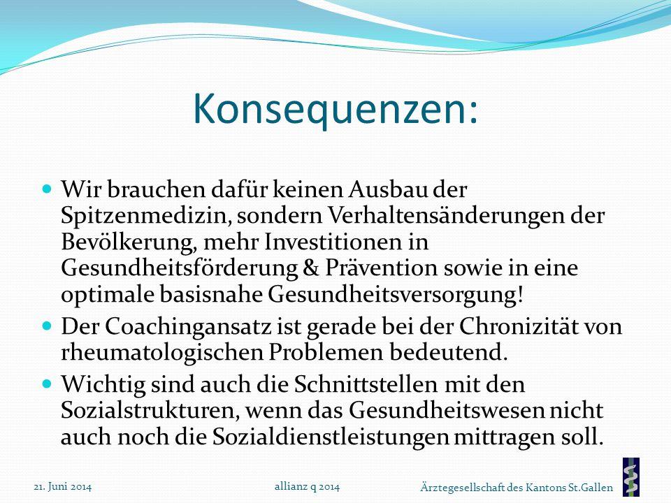 Ärztegesellschaft des Kantons St.Gallen Konsequenzen: Wir brauchen dafür keinen Ausbau der Spitzenmedizin, sondern Verhaltensänderungen der Bevölkerun