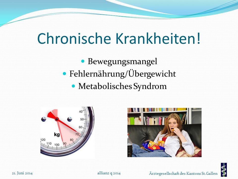 Ärztegesellschaft des Kantons St.Gallen Chronische Krankheiten! Bewegungsmangel Fehlernährung/Übergewicht Metabolisches Syndrom 21. Juni 2014allianz q