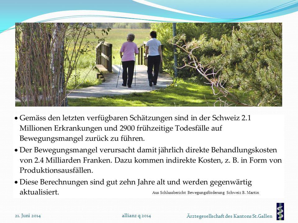 Ärztegesellschaft des Kantons St.Gallen 21. Juni 2014allianz q 2014 Aus Schlussbericht Bewegungsförderung Schweiz B. Martin