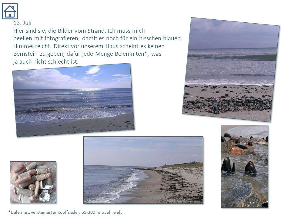 13. Juli Hier sind sie, die Bilder vom Strand. Ich muss mich beeilen mit fotografieren, damit es noch für ein bisschen blauen Himmel reicht. Direkt vo