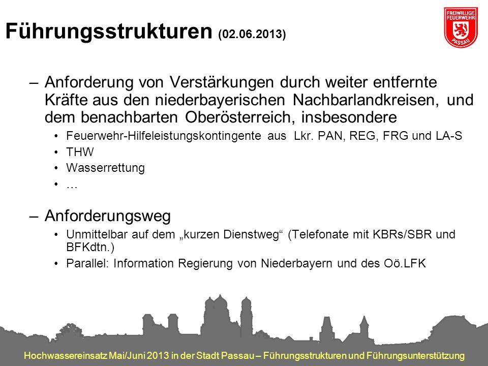 Hochwassereinsatz Mai/Juni 2013 in der Stadt Passau – Führungsstrukturen und Führungsunterstützung Führungsstrukturen (02.06.2013) –Anforderung von Ve