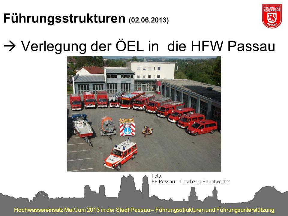 Hochwassereinsatz Mai/Juni 2013 in der Stadt Passau – Führungsstrukturen und Führungsunterstützung Führungsstrukturen (02.06.2013)  Verlegung der ÖEL