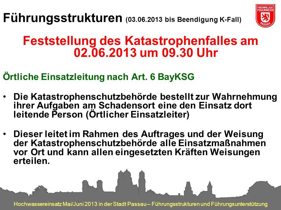 Hochwassereinsatz Mai/Juni 2013 in der Stadt Passau – Führungsstrukturen und Führungsunterstützung Führungsstrukturen (03.06.2013 bis Beendigung K-Fal