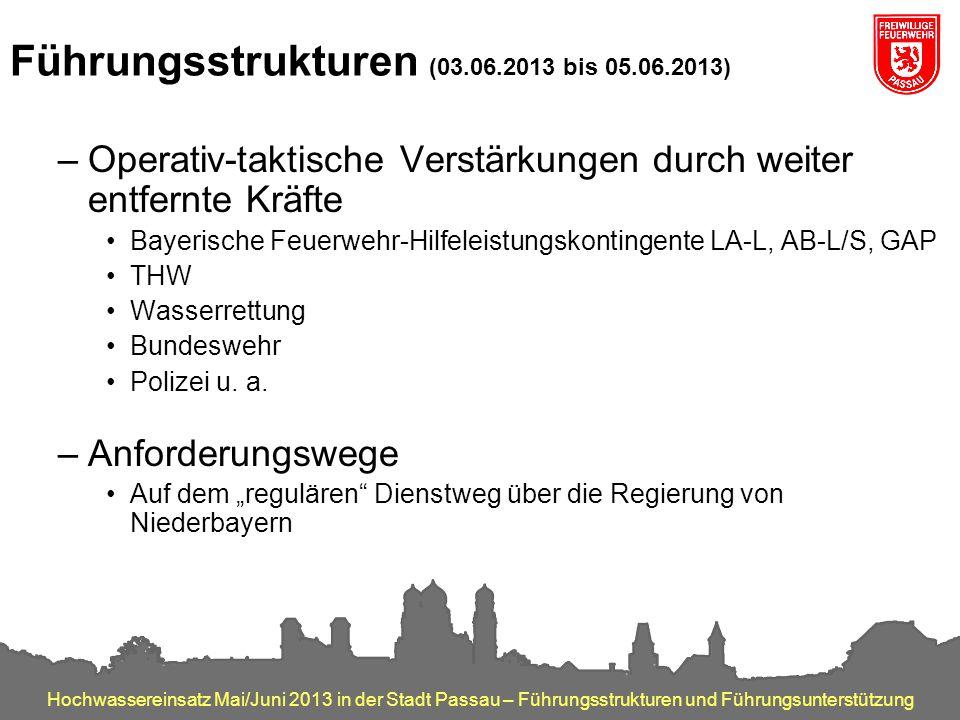Hochwassereinsatz Mai/Juni 2013 in der Stadt Passau – Führungsstrukturen und Führungsunterstützung Führungsstrukturen (03.06.2013 bis 05.06.2013) –Ope