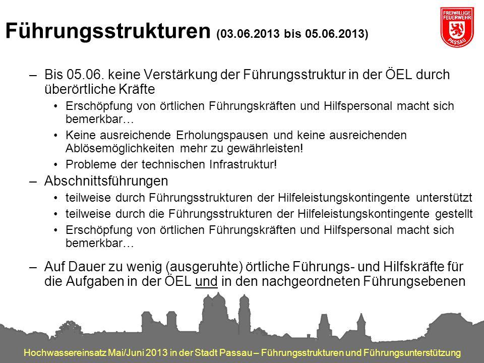 Hochwassereinsatz Mai/Juni 2013 in der Stadt Passau – Führungsstrukturen und Führungsunterstützung Führungsstrukturen (03.06.2013 bis 05.06.2013) –Bis