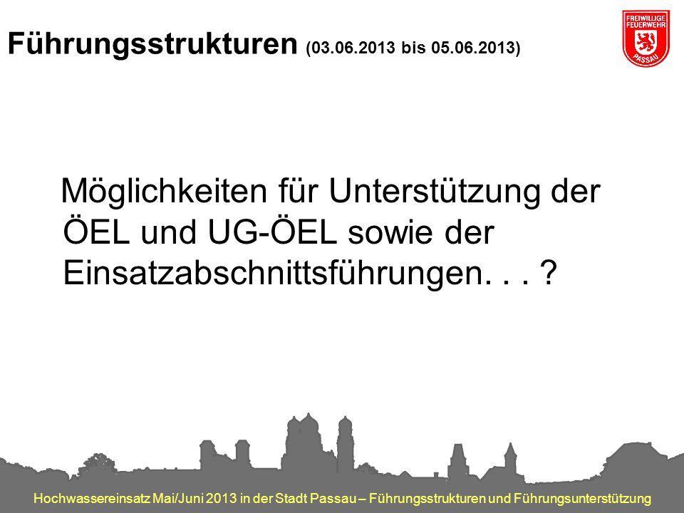 Hochwassereinsatz Mai/Juni 2013 in der Stadt Passau – Führungsstrukturen und Führungsunterstützung Führungsstrukturen (03.06.2013 bis 05.06.2013) Mögl
