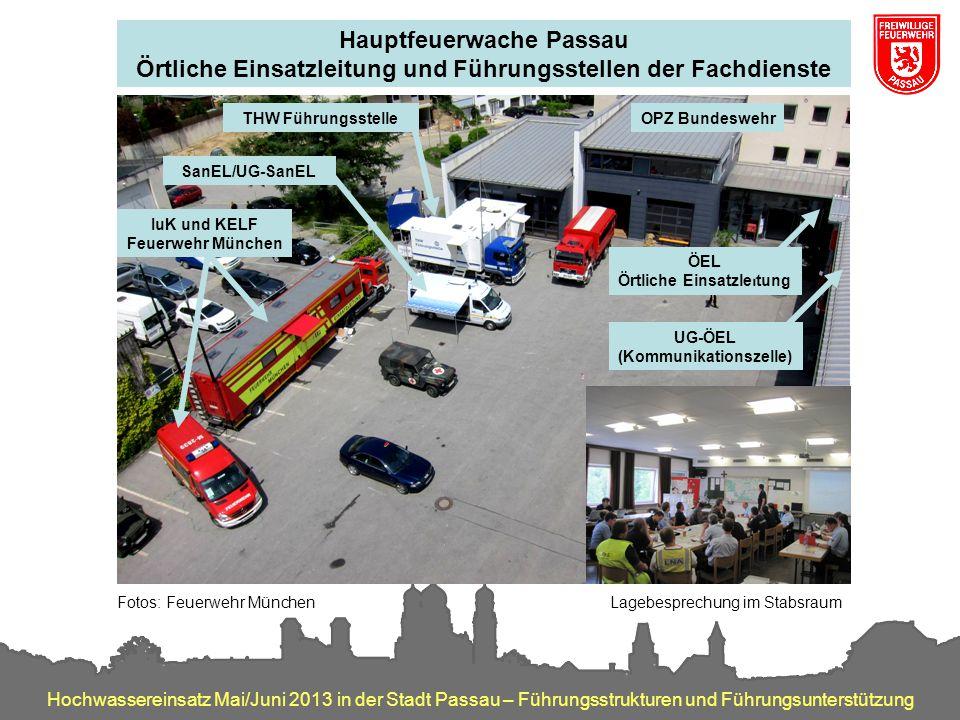 Hochwassereinsatz Mai/Juni 2013 in der Stadt Passau – Führungsstrukturen und Führungsunterstützung SanEL/UG-SanEL THW Führungsstelle IuK und KELF Feue