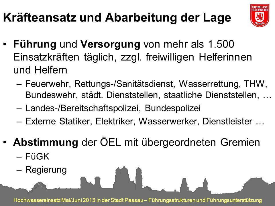 Hochwassereinsatz Mai/Juni 2013 in der Stadt Passau – Führungsstrukturen und Führungsunterstützung Kräfteansatz und Abarbeitung der Lage Führung und V