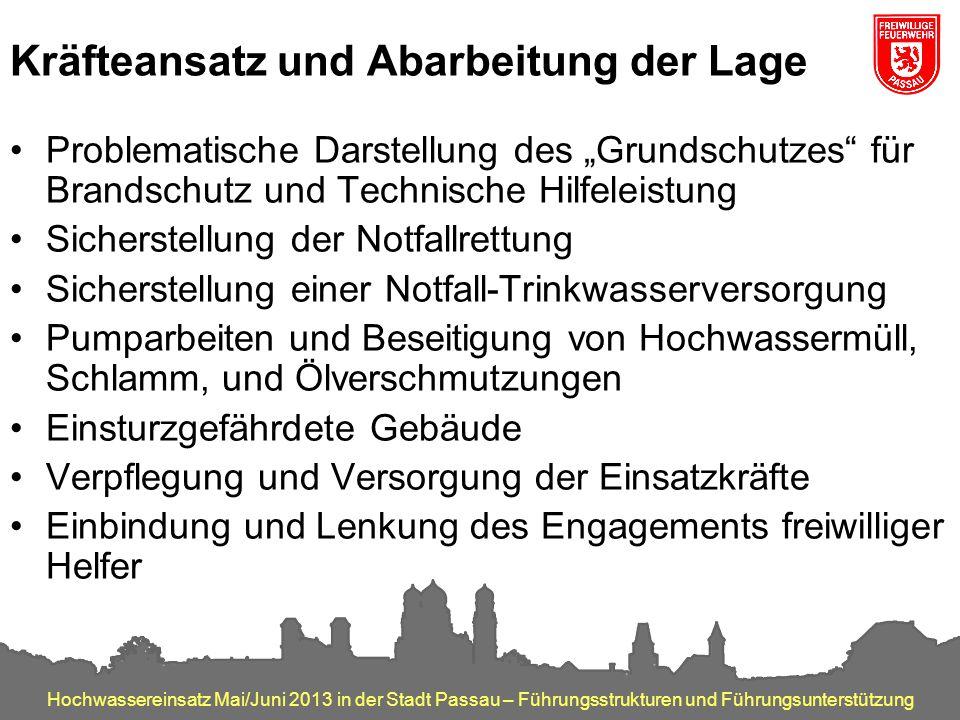 Hochwassereinsatz Mai/Juni 2013 in der Stadt Passau – Führungsstrukturen und Führungsunterstützung Kräfteansatz und Abarbeitung der Lage Problematisch