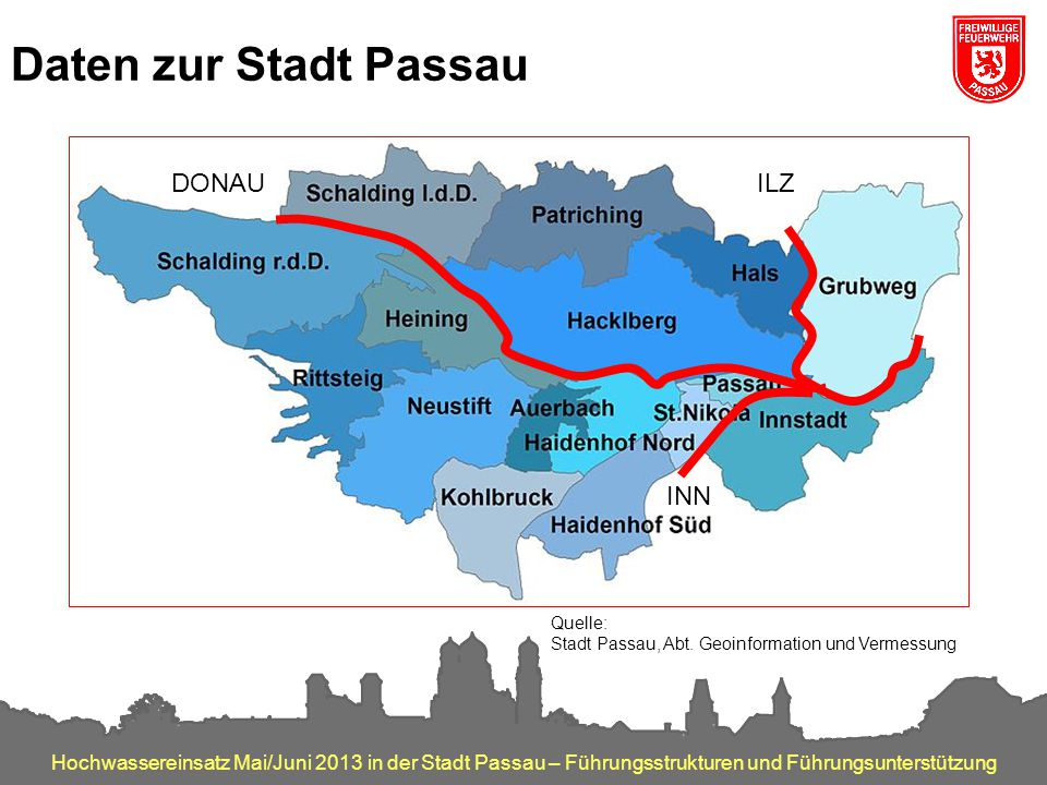 Hochwassereinsatz Mai/Juni 2013 in der Stadt Passau – Führungsstrukturen und Führungsunterstützung Daten zur Stadt Passau Quelle: Stadt Passau, Abt. G