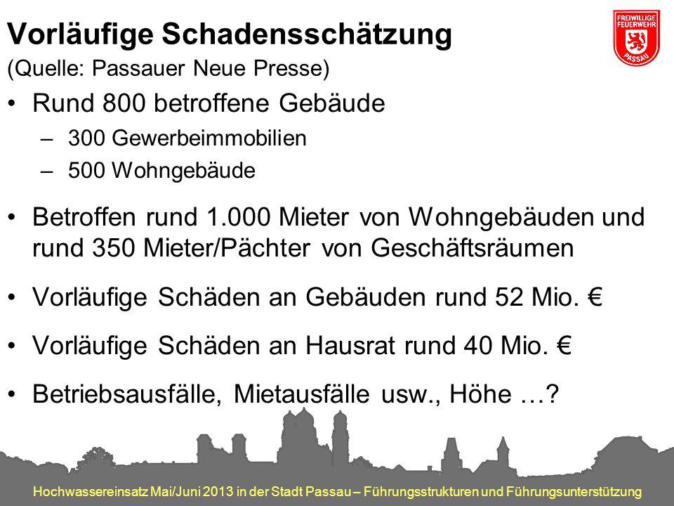 Hochwassereinsatz Mai/Juni 2013 in der Stadt Passau – Führungsstrukturen und Führungsunterstützung Vorläufige Schadensschätzung (Quelle: Passauer Neue