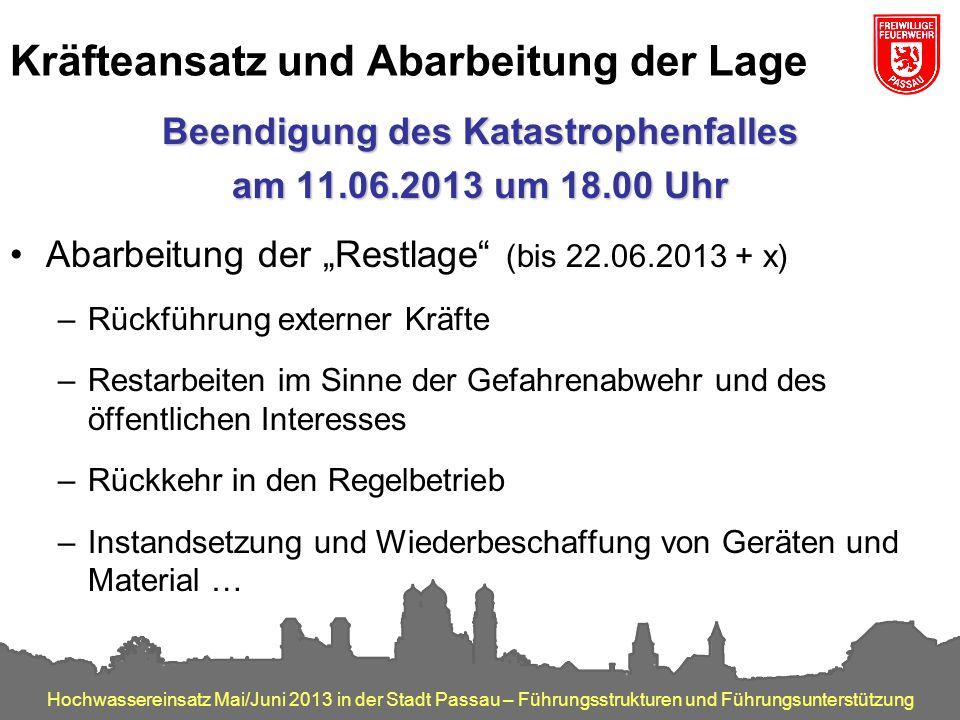 Hochwassereinsatz Mai/Juni 2013 in der Stadt Passau – Führungsstrukturen und Führungsunterstützung Kräfteansatz und Abarbeitung der Lage Beendigung de