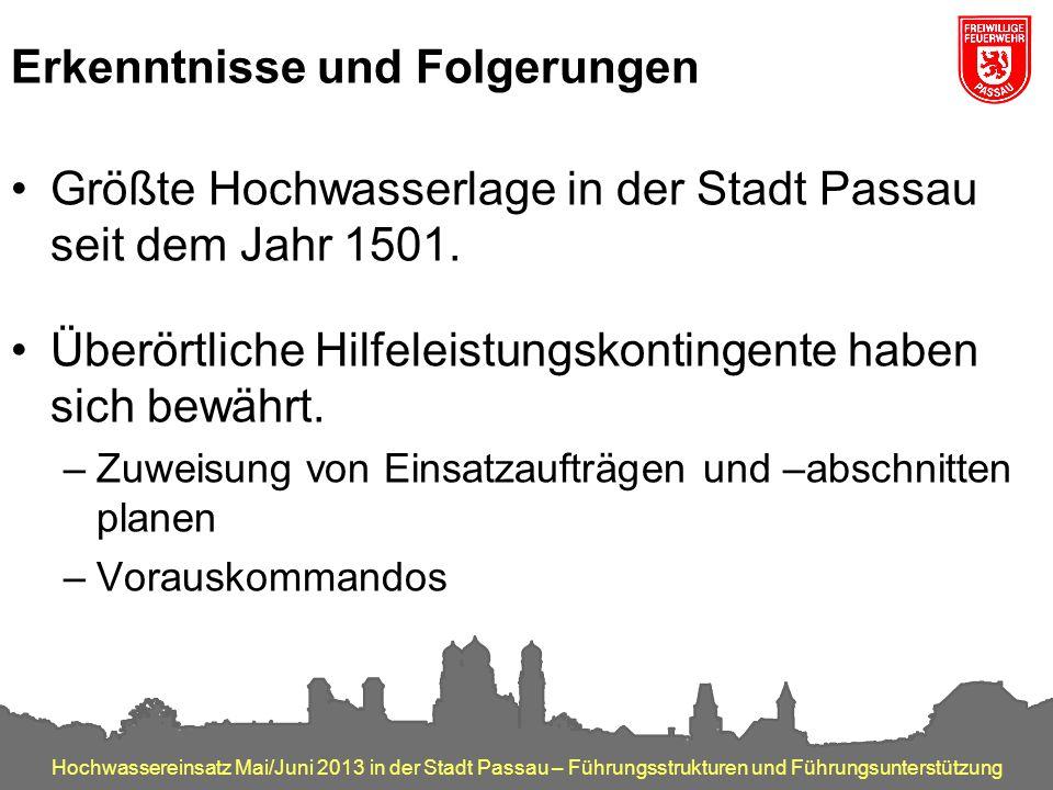 Hochwassereinsatz Mai/Juni 2013 in der Stadt Passau – Führungsstrukturen und Führungsunterstützung Erkenntnisse und Folgerungen Größte Hochwasserlage