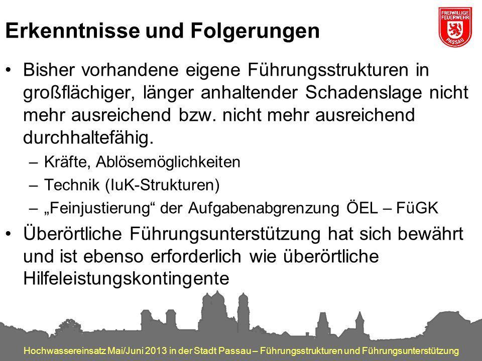 Hochwassereinsatz Mai/Juni 2013 in der Stadt Passau – Führungsstrukturen und Führungsunterstützung Erkenntnisse und Folgerungen Bisher vorhandene eige