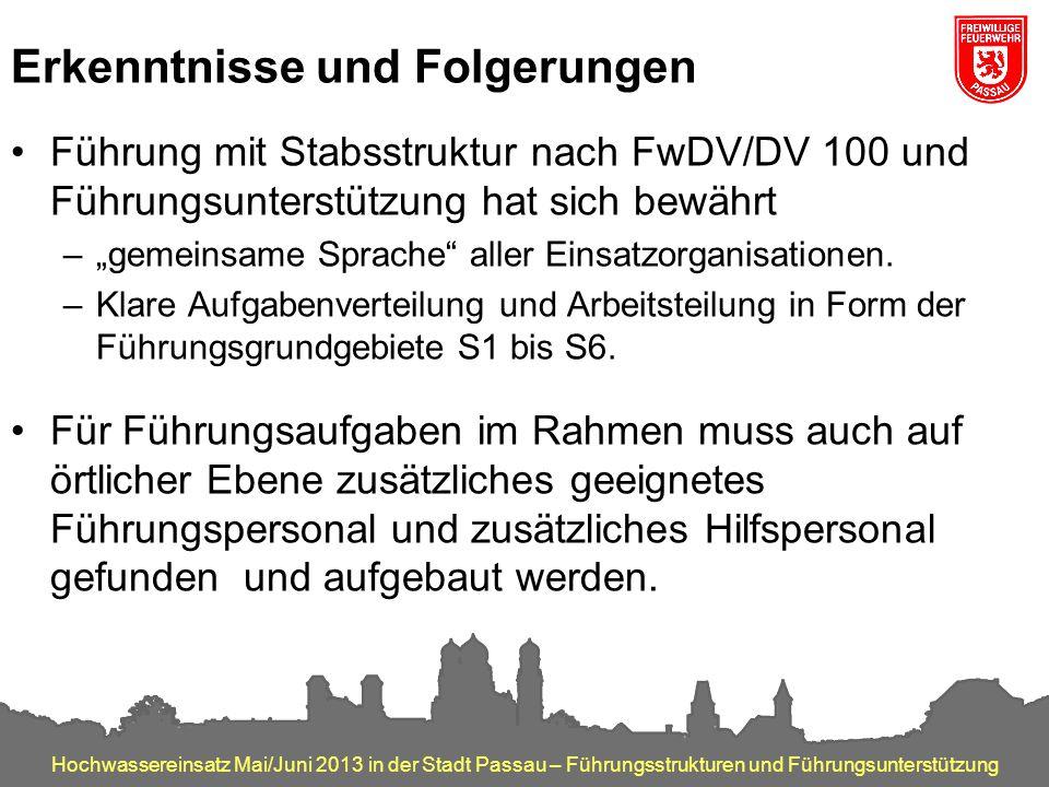 Hochwassereinsatz Mai/Juni 2013 in der Stadt Passau – Führungsstrukturen und Führungsunterstützung Erkenntnisse und Folgerungen Führung mit Stabsstruk