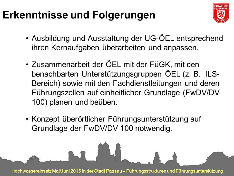 Hochwassereinsatz Mai/Juni 2013 in der Stadt Passau – Führungsstrukturen und Führungsunterstützung Erkenntnisse und Folgerungen Ausbildung und Ausstat