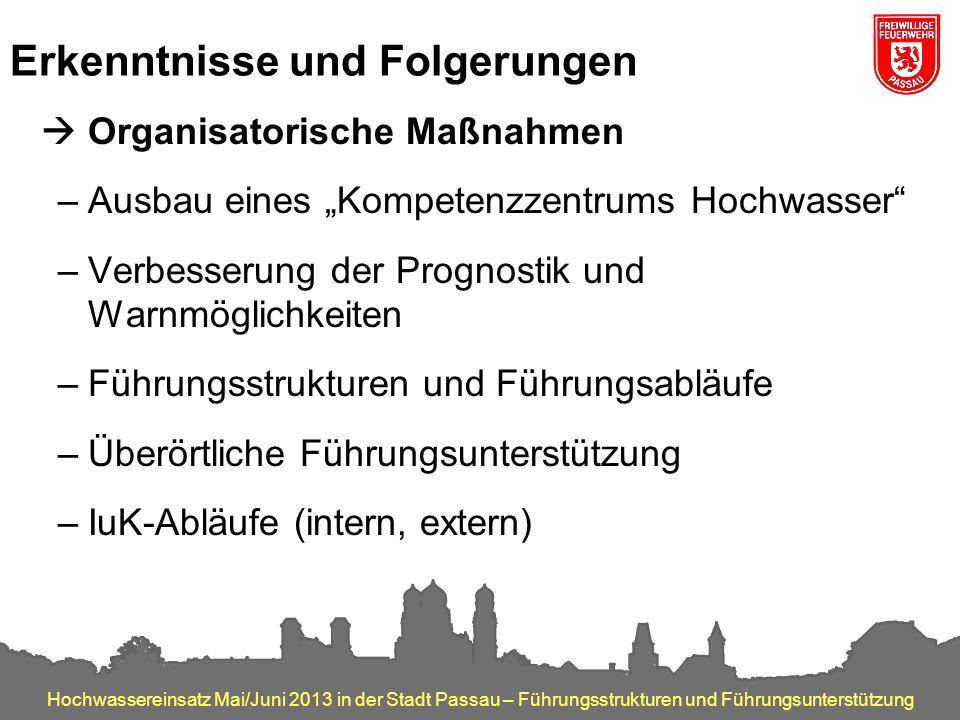 Hochwassereinsatz Mai/Juni 2013 in der Stadt Passau – Führungsstrukturen und Führungsunterstützung Erkenntnisse und Folgerungen  Organisatorische Maß