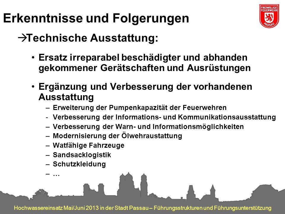 Hochwassereinsatz Mai/Juni 2013 in der Stadt Passau – Führungsstrukturen und Führungsunterstützung Erkenntnisse und Folgerungen  Technische Ausstattu