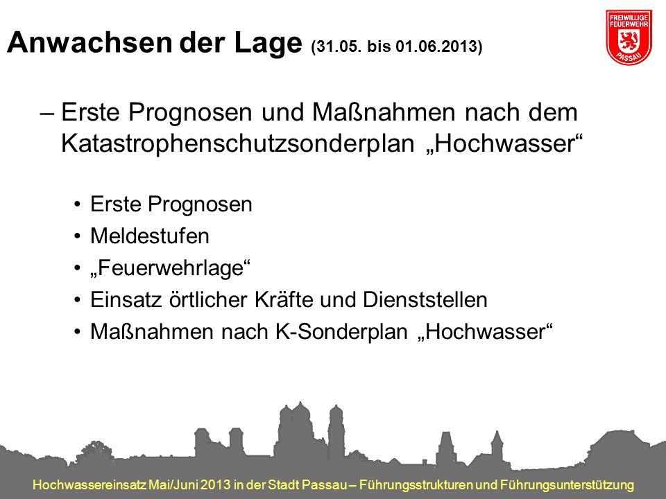 Hochwassereinsatz Mai/Juni 2013 in der Stadt Passau – Führungsstrukturen und Führungsunterstützung Anwachsen der Lage (31.05. bis 01.06.2013) –Erste P