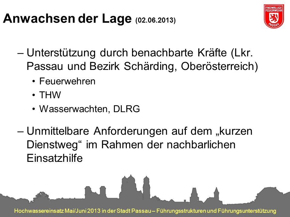 Hochwassereinsatz Mai/Juni 2013 in der Stadt Passau – Führungsstrukturen und Führungsunterstützung Anwachsen der Lage (02.06.2013) –Unterstützung durc