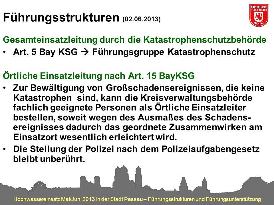 Hochwassereinsatz Mai/Juni 2013 in der Stadt Passau – Führungsstrukturen und Führungsunterstützung Führungsstrukturen (02.06.2013) Gesamteinsatzleitun