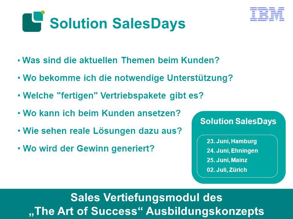 Solution SalesDays Was sind die aktuellen Themen beim Kunden? Wo bekomme ich die notwendige Unterstützung? Welche