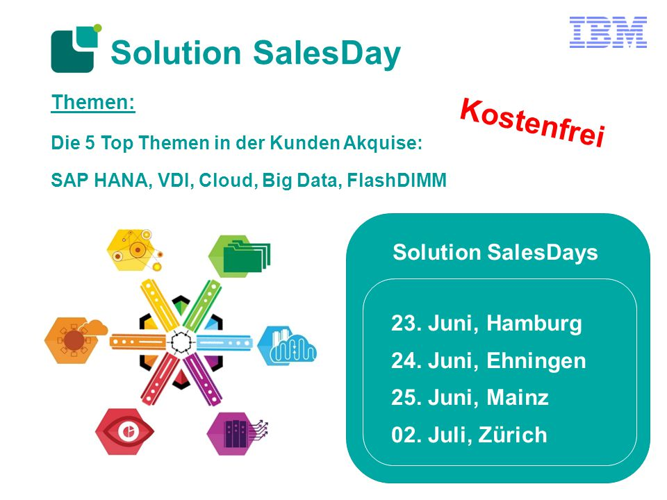 Solution SalesDay Themen: Die 5 Top Themen in der Kunden Akquise: SAP HANA, VDI, Cloud, Big Data, FlashDIMM Solution SalesDays 23.