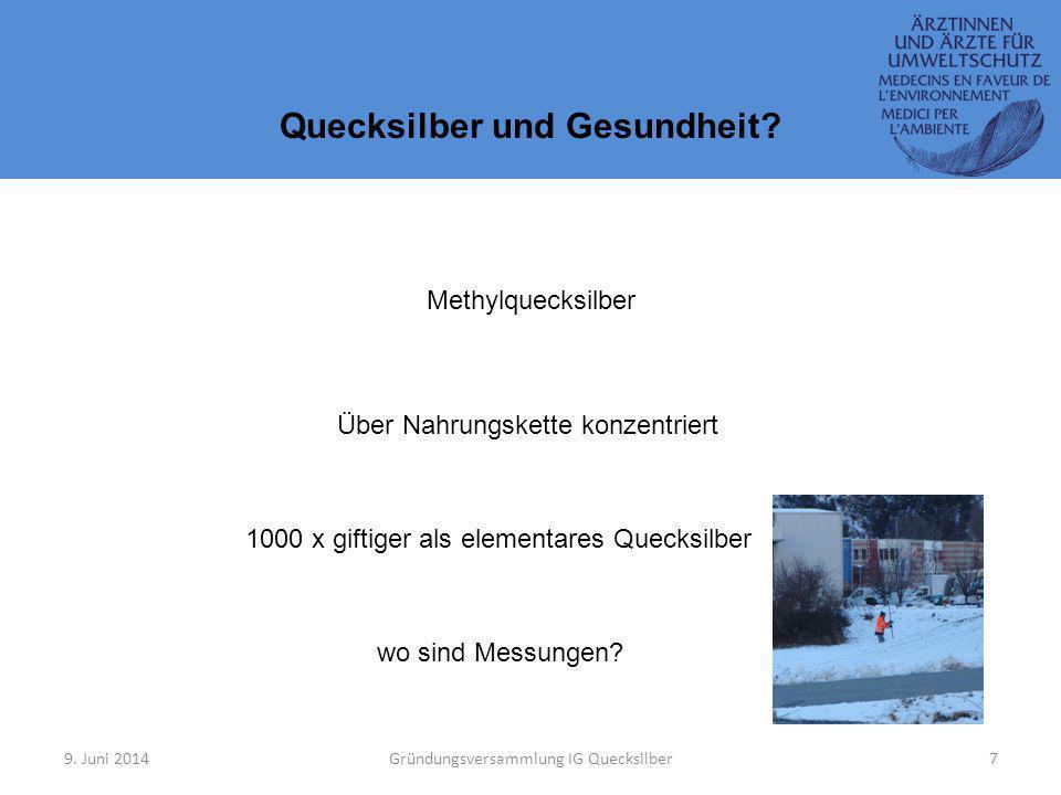 9.Juni 2014Gründungsversammlung IG Quecksilber7 Quecksilber und Gesundheit.