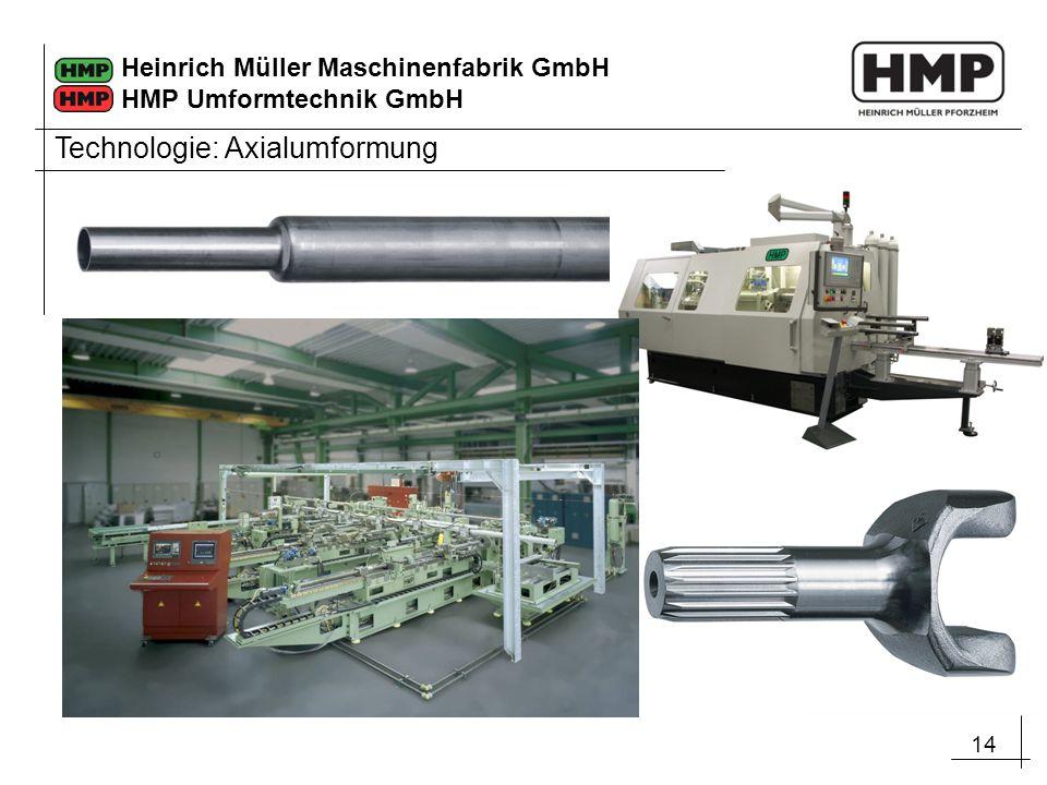 14 Heinrich Müller Maschinenfabrik GmbH HMP Umformtechnik GmbH Technologie: Axialumformung