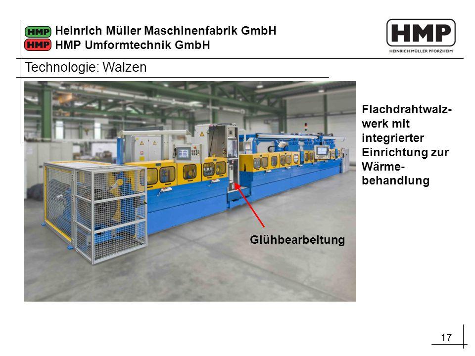 17 Heinrich Müller Maschinenfabrik GmbH HMP Umformtechnik GmbH Flachdrahtwalz- werk mit integrierter Einrichtung zur Wärme- behandlung Glühbearbeitung