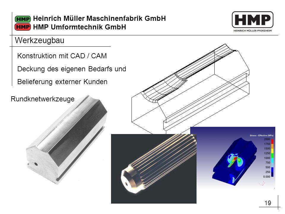 19 Heinrich Müller Maschinenfabrik GmbH HMP Umformtechnik GmbH Werkzeugbau Konstruktion mit CAD / CAM Deckung des eigenen Bedarfs und Belieferung exte