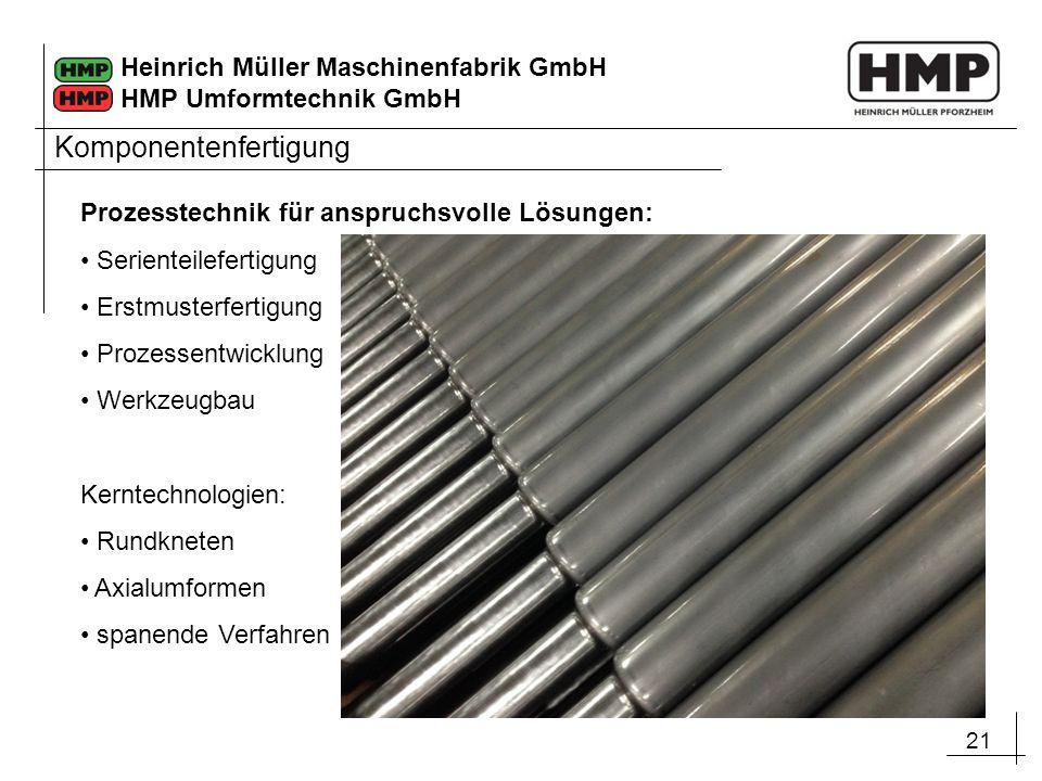 21 Heinrich Müller Maschinenfabrik GmbH HMP Umformtechnik GmbH Prozesstechnik für anspruchsvolle Lösungen: Serienteilefertigung Erstmusterfertigung Pr