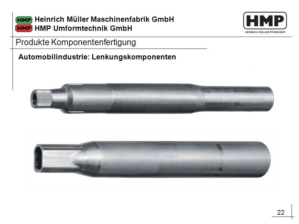 22 Heinrich Müller Maschinenfabrik GmbH HMP Umformtechnik GmbH Produkte Komponentenfertigung Automobilindustrie: Lenkungskomponenten