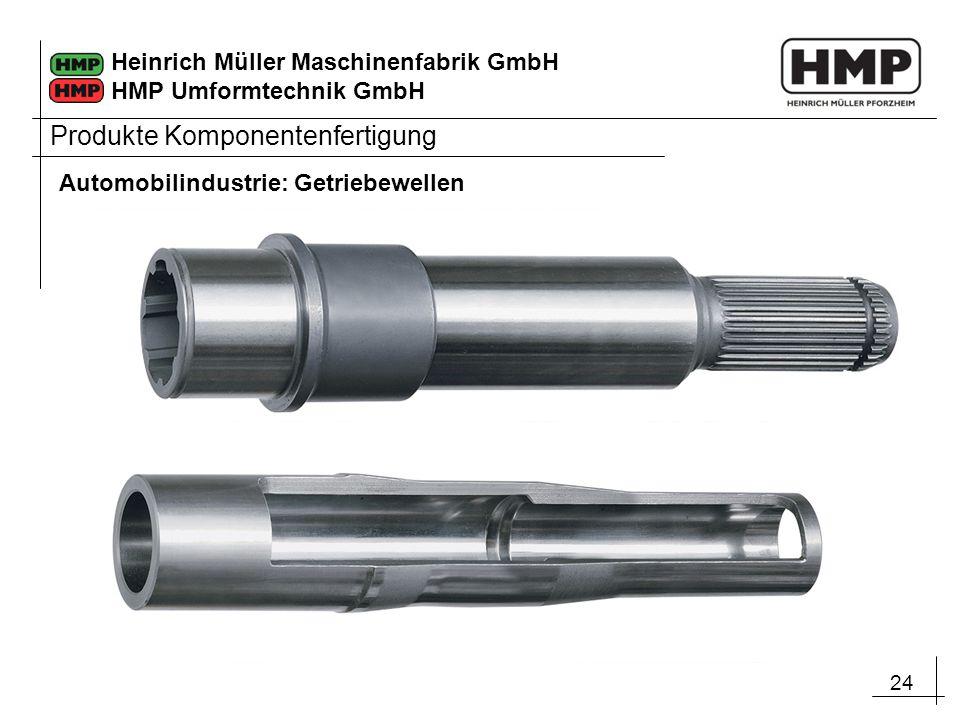 24 Heinrich Müller Maschinenfabrik GmbH HMP Umformtechnik GmbH Automobilindustrie: Getriebewellen Produkte Komponentenfertigung