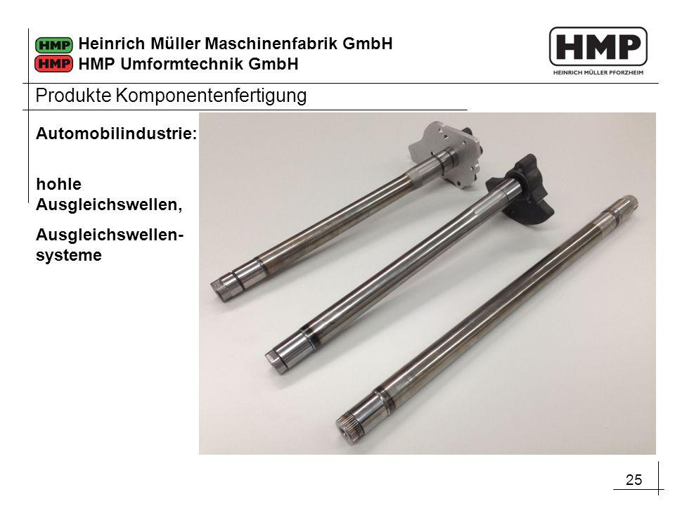 25 Heinrich Müller Maschinenfabrik GmbH HMP Umformtechnik GmbH Automobilindustrie: hohle Ausgleichswellen, Ausgleichswellen- systeme Produkte Komponen