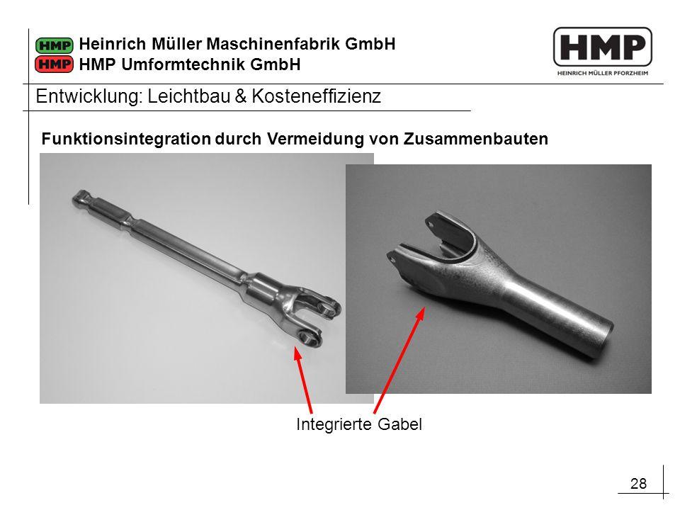 28 Heinrich Müller Maschinenfabrik GmbH HMP Umformtechnik GmbH Integrierte Gabel Entwicklung: Leichtbau & Kosteneffizienz Funktionsintegration durch V